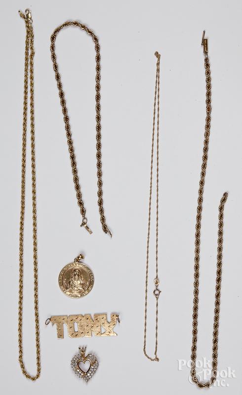 Three 10K gold necklaces, 7.7 dwt., etc.