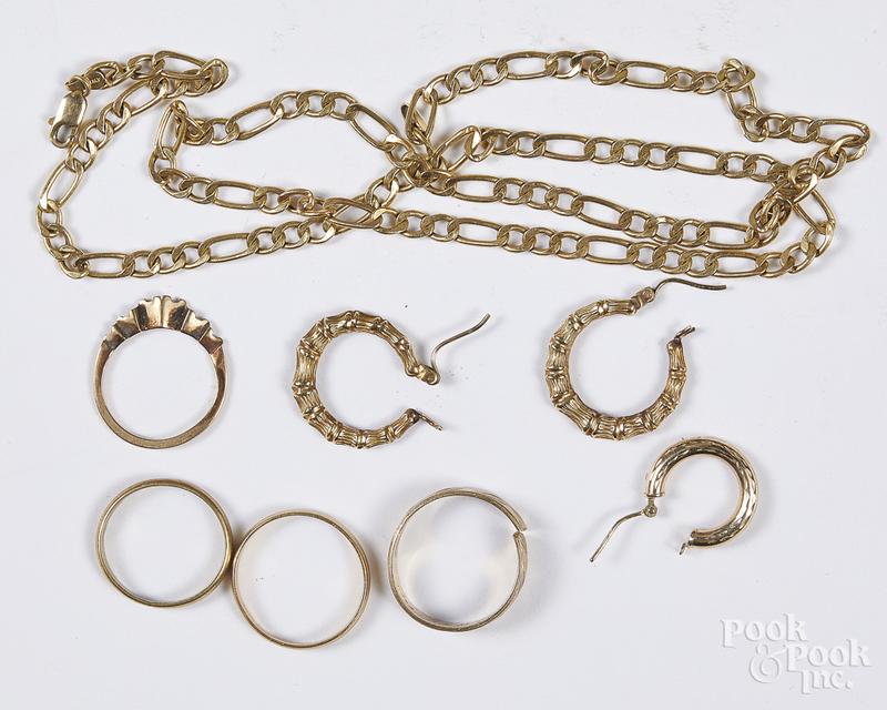 10K yellow gold jewelry, 10.6 dwt.