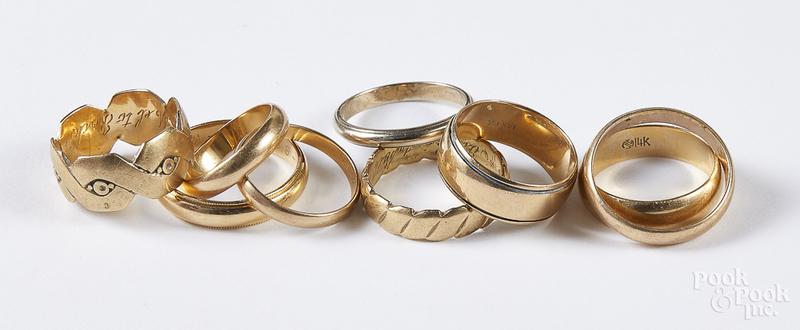 14K gold wedding bands, 25.9 dwt.