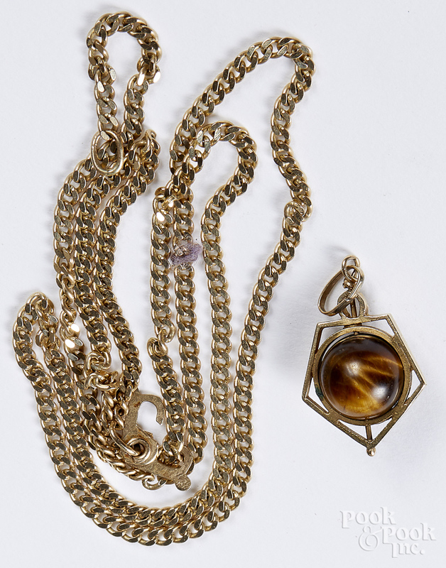 14K yellow gold necklace with tiger's eye pendant