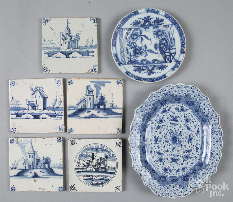 Five blue and white Dutch tiles, etc.
