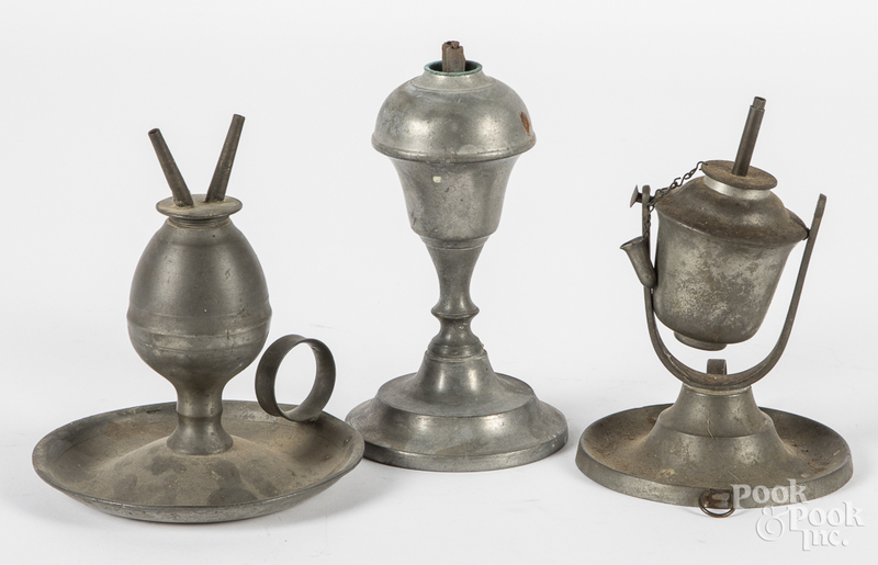 Three pewter whale oil lamps, etc.