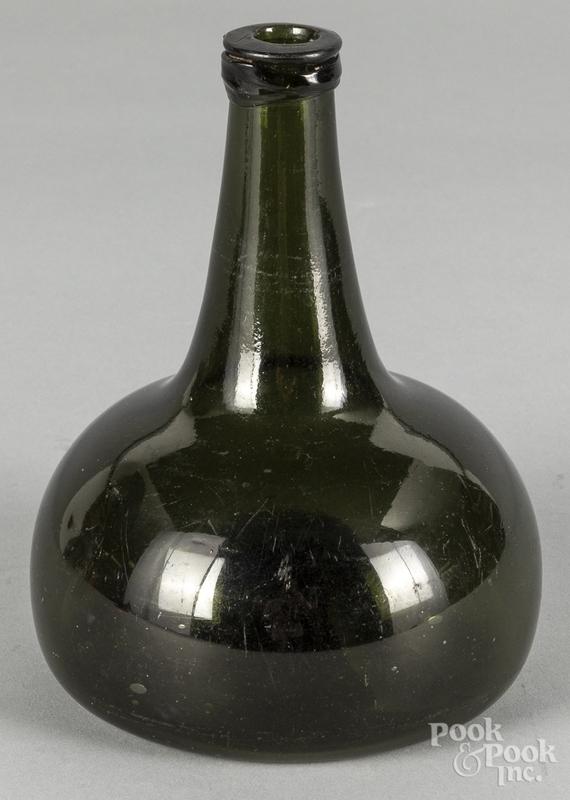 Blown olive glass squat bottle, ca. 1800, 7