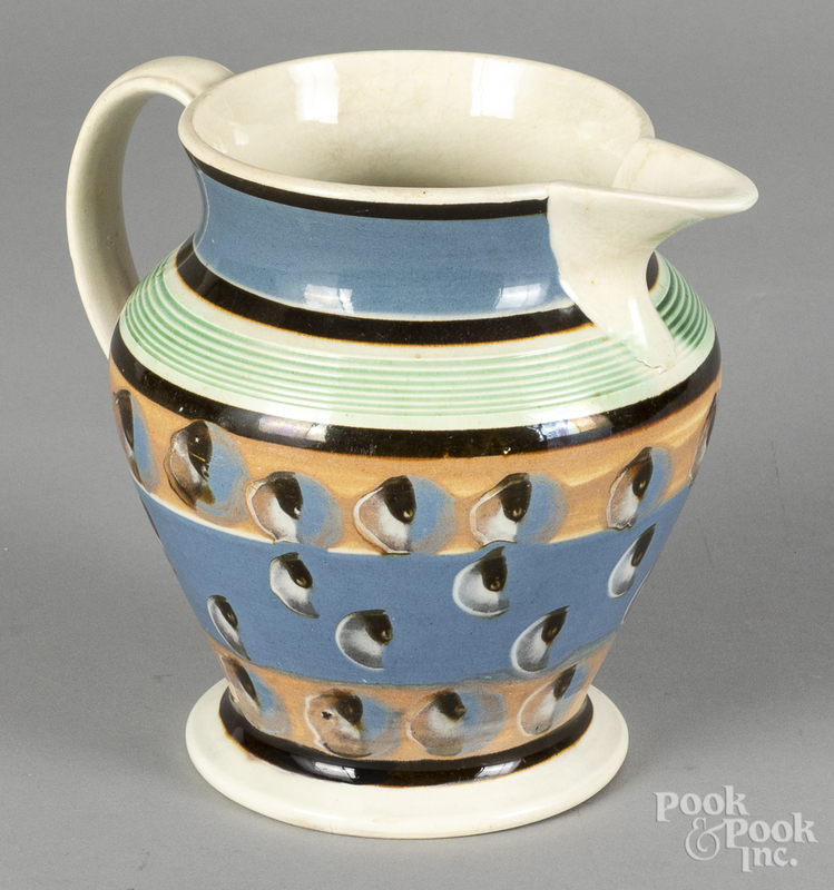 Mocha pitcher, 19th c., with cat's eye decoration