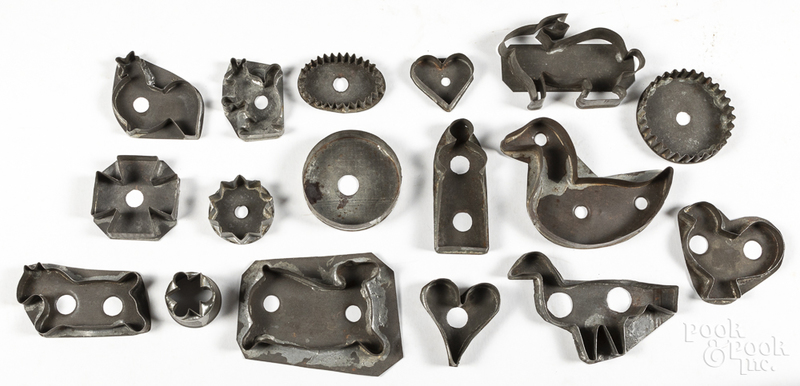 Collection of tinned sheet iron cookie cutters