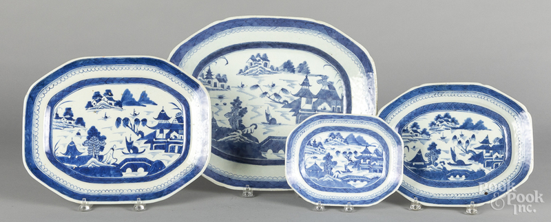Four Chinese export porcelain Canton platters