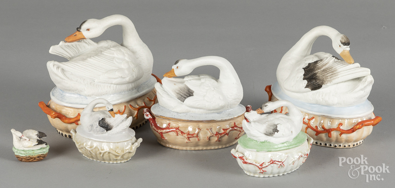Six porcelain swan on nests
