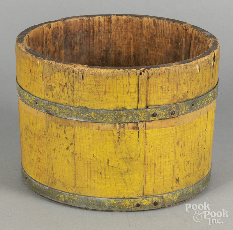 Yellow painted bucket, 19th c., 8