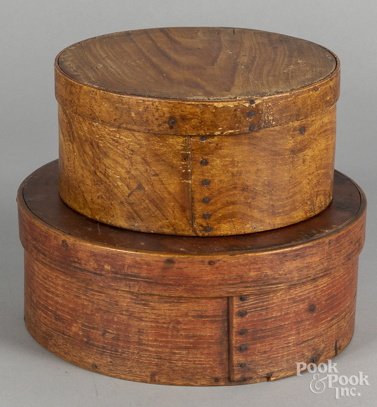 Two painted bentwood pantry boxes, 19th c.