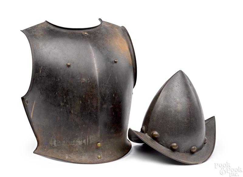 European icabasset peaked helmet and breast plate