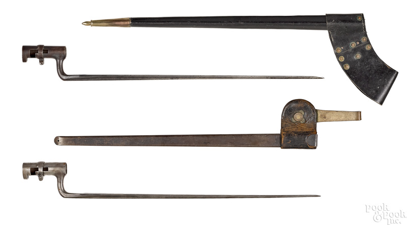 Two US socket bayonets and scabbards