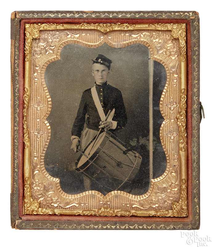 Civil war ambrotype of a young drummer boy