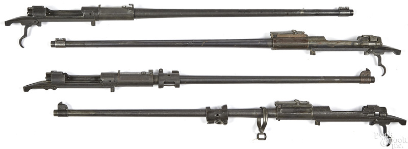 Four Springfield 1903 rifle barreled actions