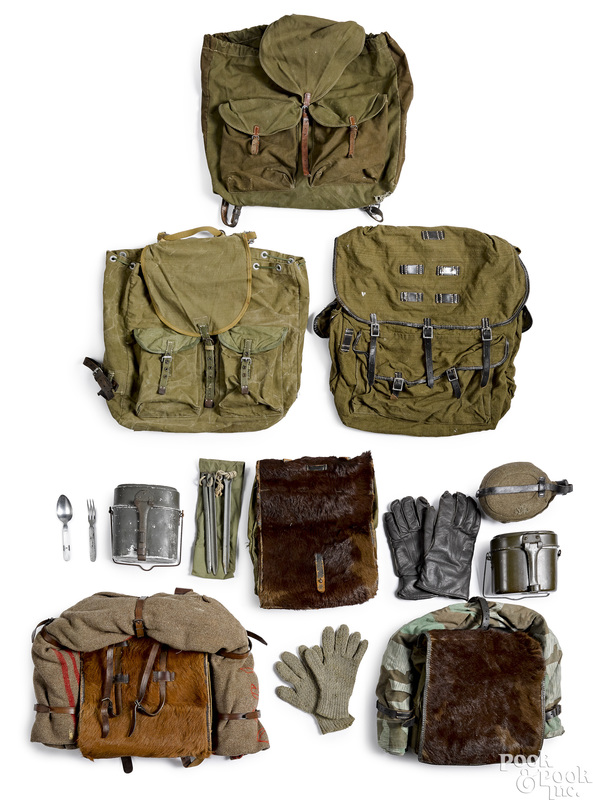 Three German WWII pony packs, etc.