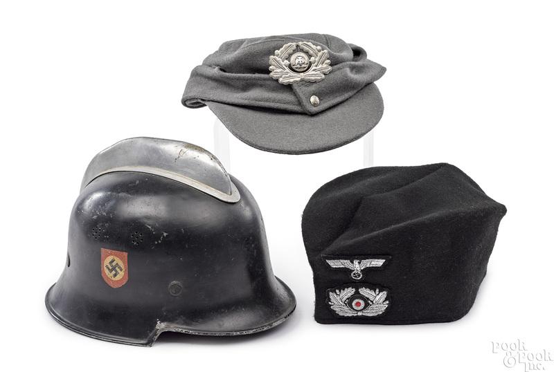 German WWII Nazi fireman helmet, etc.