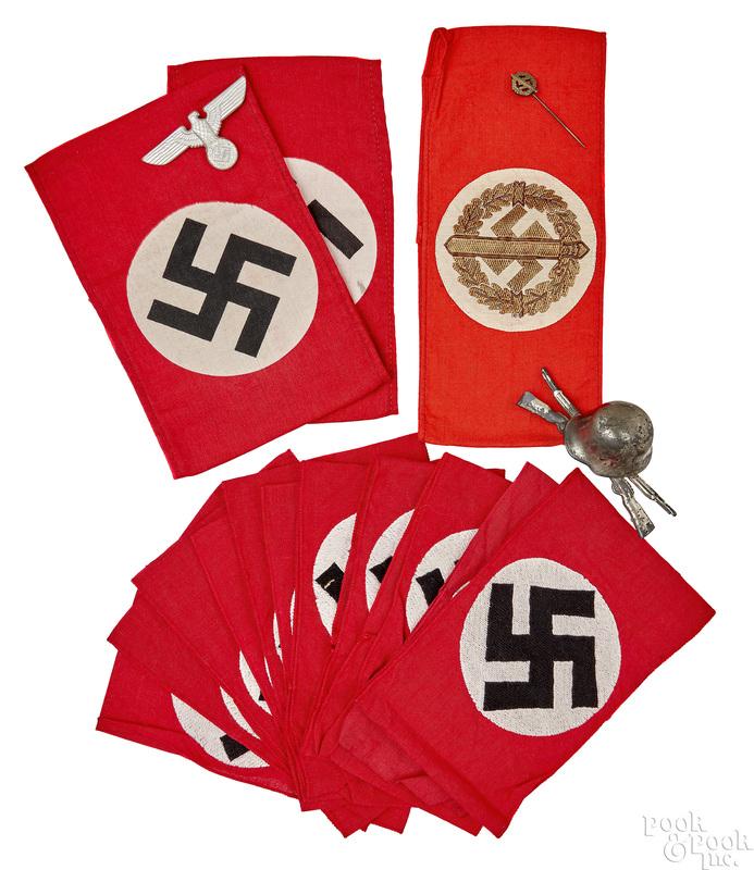 Fourteen German WWII Nazi armbands, etc.