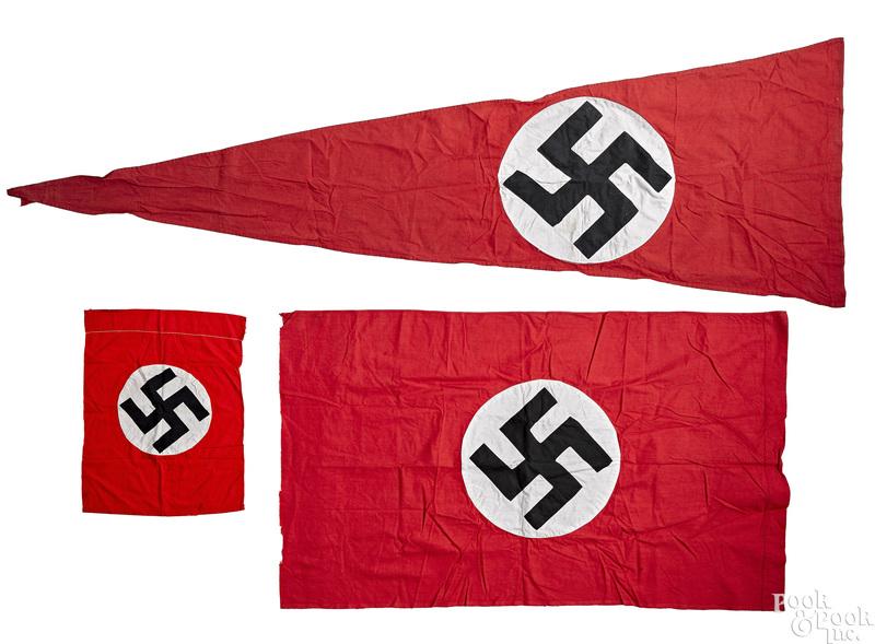 Large German WWII Nazi building pennant, etc.