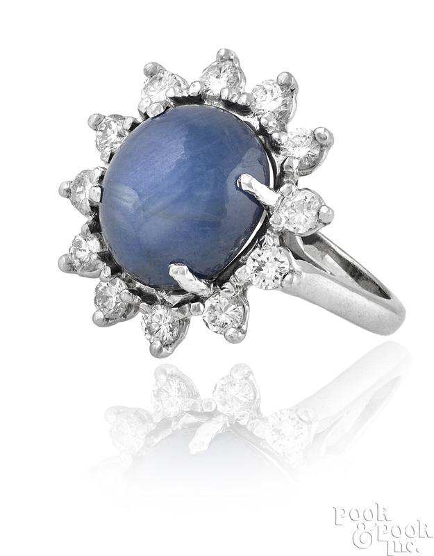 14K white gold star sapphire and diamond ring