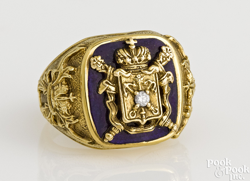 14K yellow gold diamond coat of arms ring