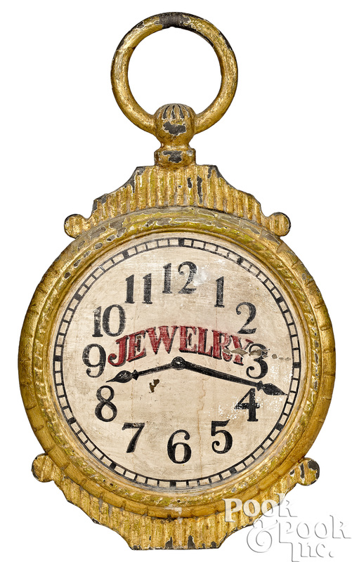 Painted iron and giltwood pocket watch trade sign