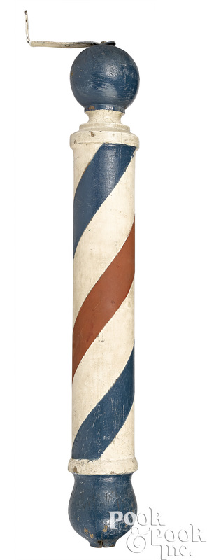 Painted pine barber pole trade sign