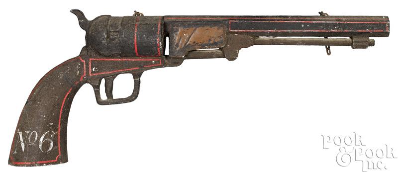 Painted wood revolver gun trade sign