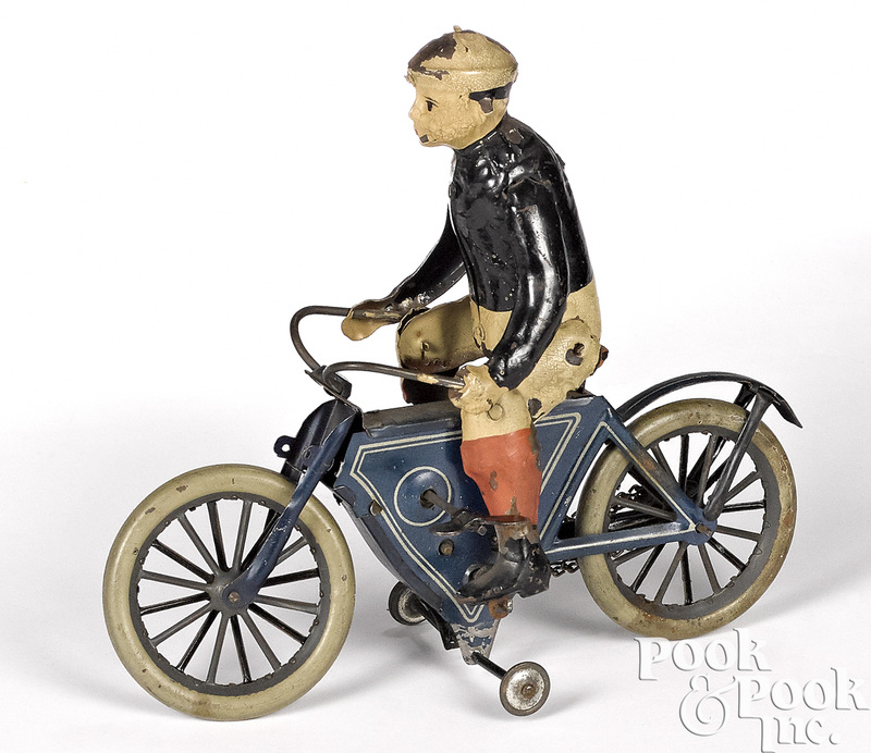 German lithograph tin wind-up motorcycle