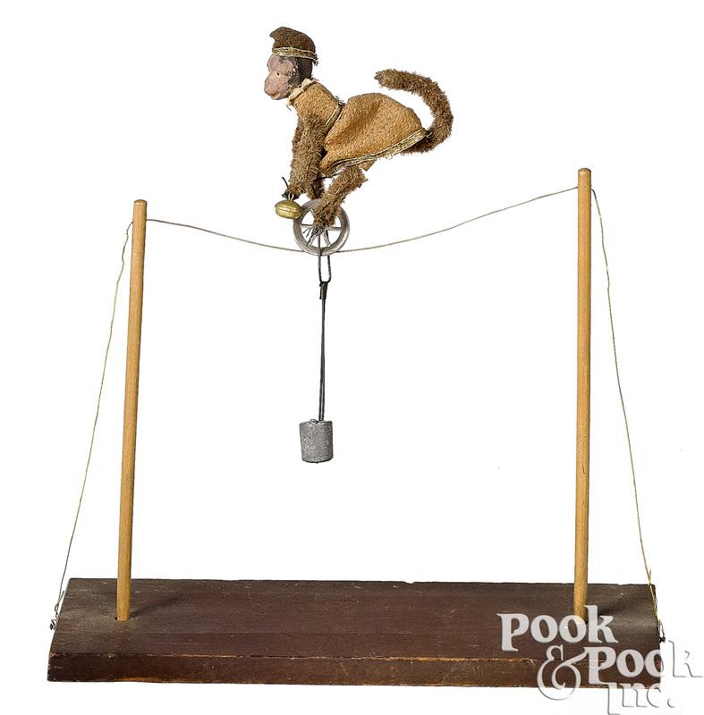 Monkey high wire unicyclist balance toy
