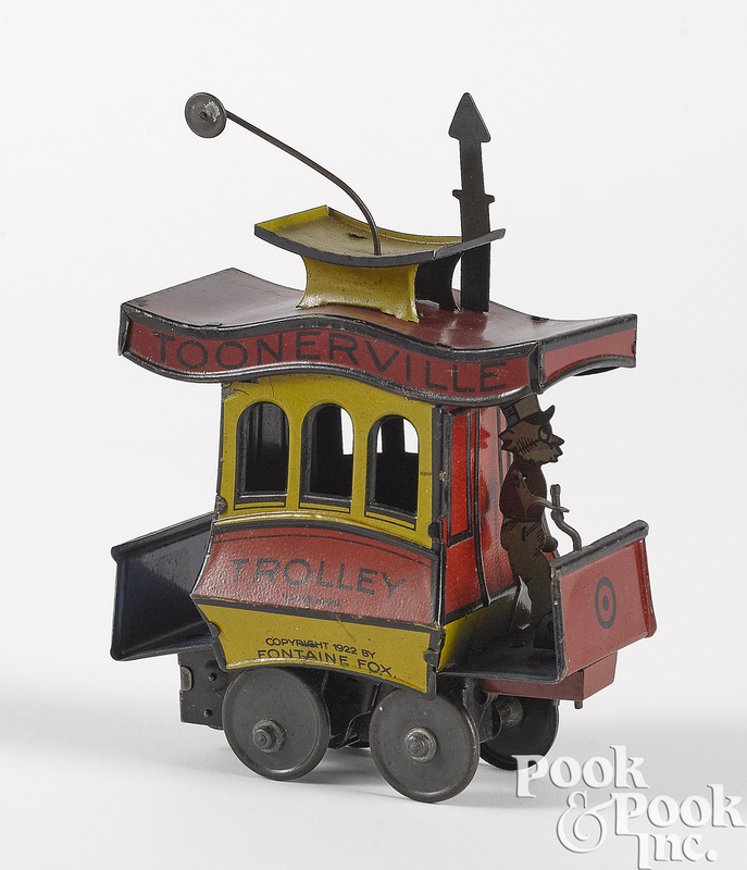 German tin lithograph Toonerville Trolley wind-up