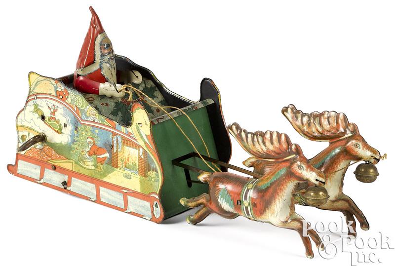 Strauss wind-up Santee Claus sleigh