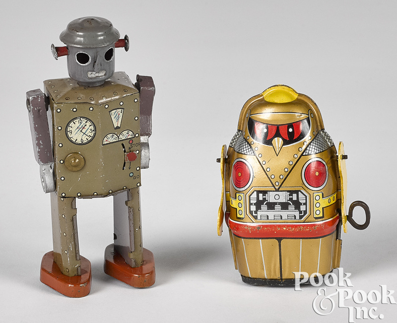 Two Japanese tin lithograph windup robots