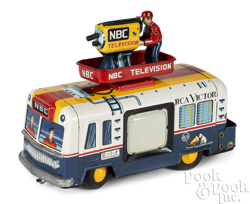 Japanese tin lithograph NBC Television van