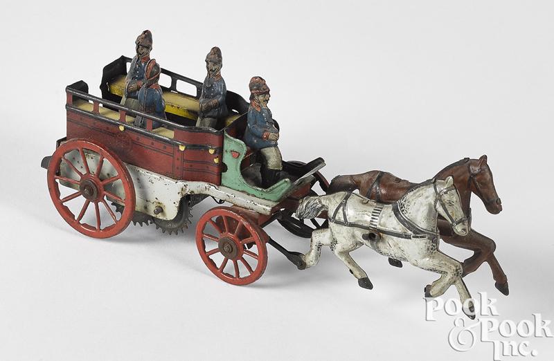 Orobr tin clockwork horse drawn fire patrol