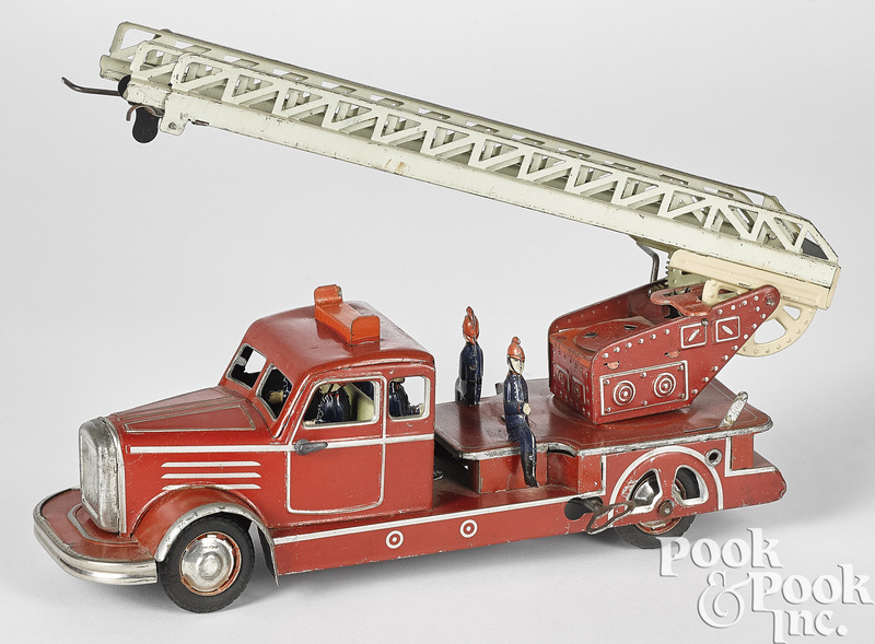 German tin lithograph clockwork fire ladder truck