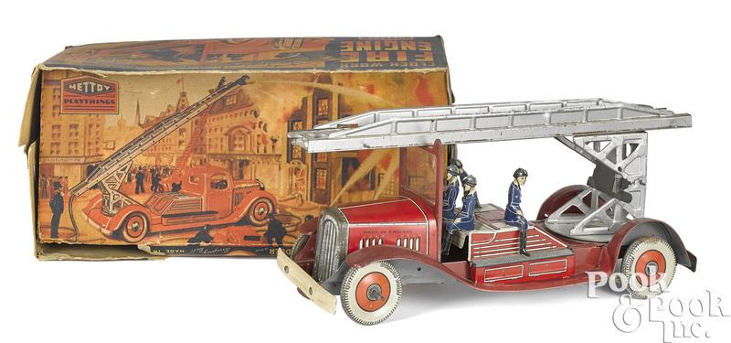 Mettoy tin lithograph clockwork fire ladder truck