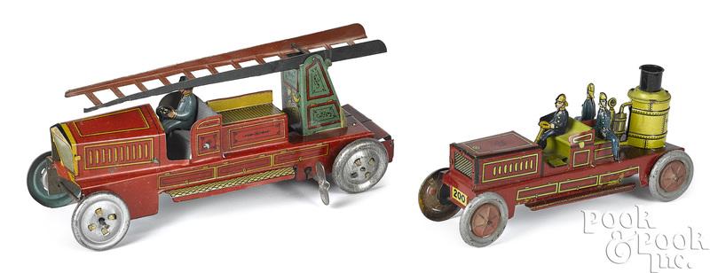 Kellerman tin lithograph fire pumper penny toy, etc.