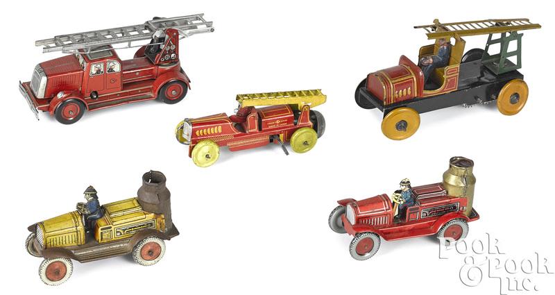 Five tin lithograph clockwork fire vehicles