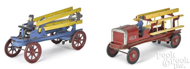 Kingsbury clockwork fire ladder trucks