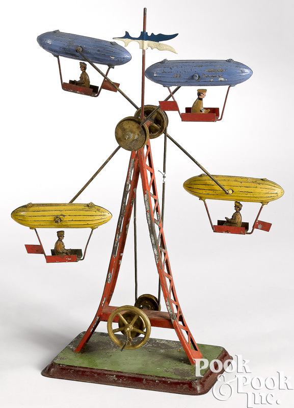 Dirigible painted tin Ferris wheel steam toy