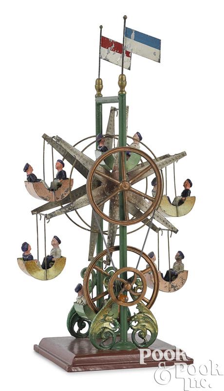Ernst Plank painted tin live steam Ferris wheel