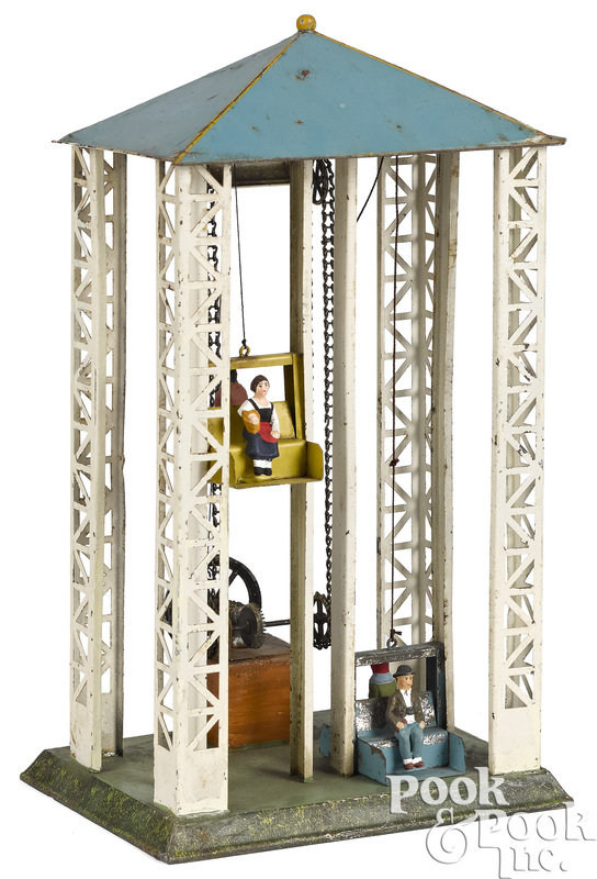 Painted tin elevator steam toy accessory