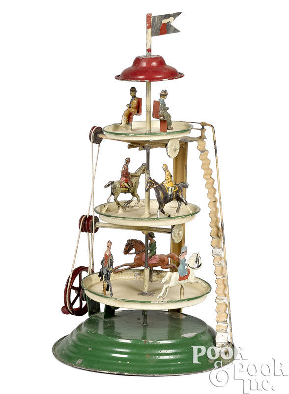 German painted tin three-tier steam toy carousel