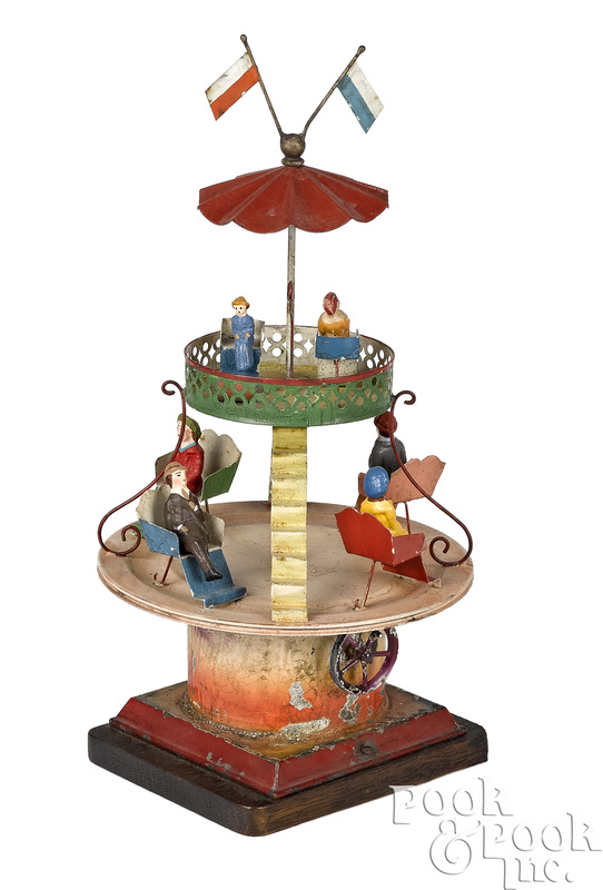 Painted tin two-tier carousel steam toy accessory