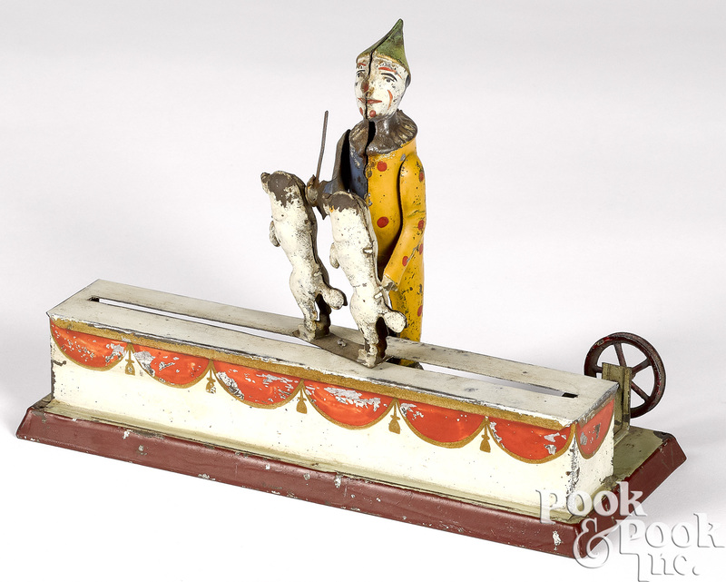 Clown with prancing dogs steam toy accessory