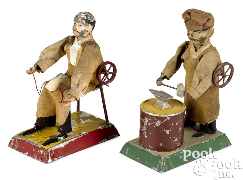 Schoenner painted tin blacksmith and cobbler