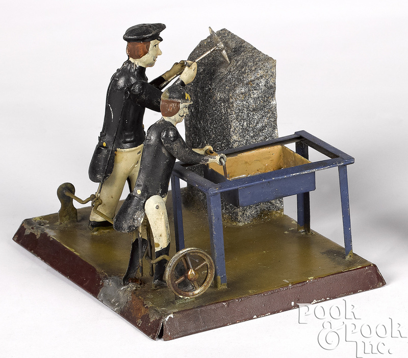 Painted tin coal miners steam toy accessory