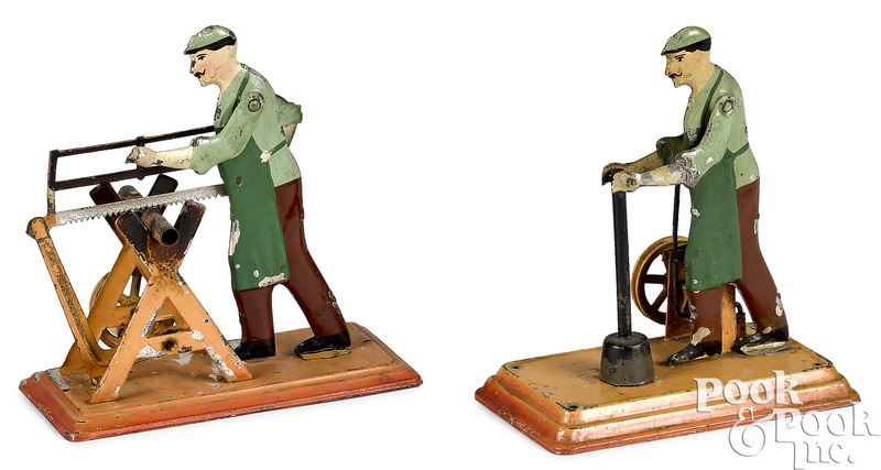 Two Bing workmen steam toy accessories