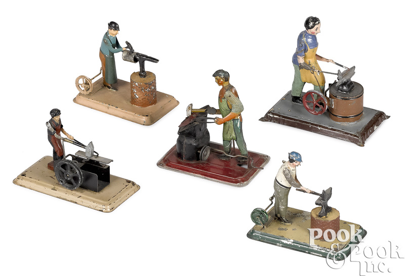 Five painted tin workmen steam toy accessories
