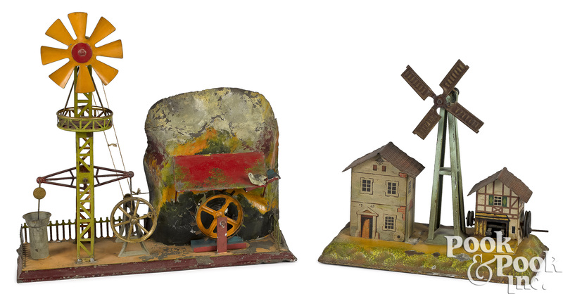 Two German windmill steam toy accessories
