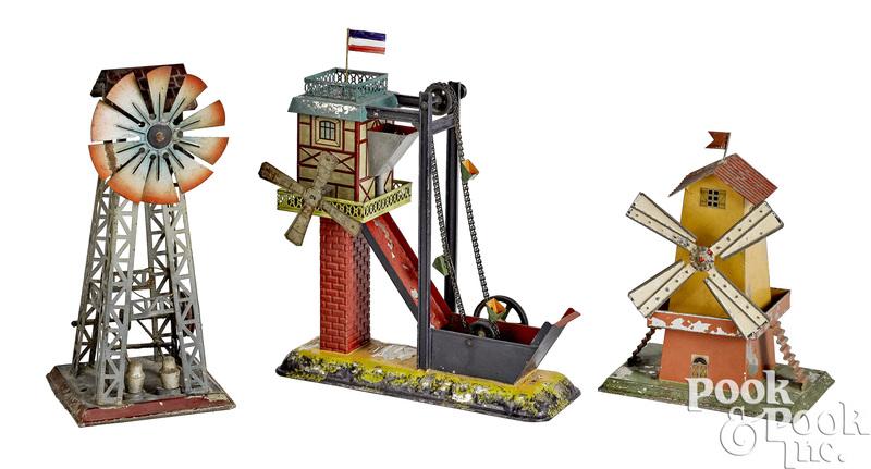 Three windmill steam toy accessories
